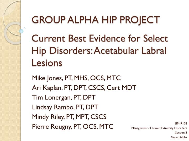 group alpha hip project current best evidence for select hip disorders acetabular labral lesions n.
