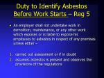 duty to identify asbestos before work starts reg 5