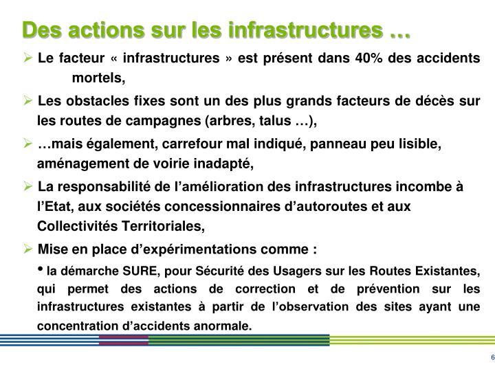 Des actions sur les infrastructures …