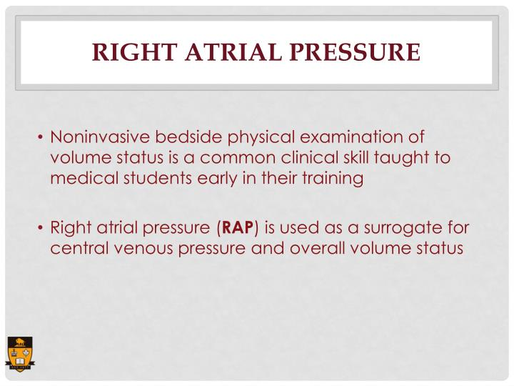 Right atrial pressure