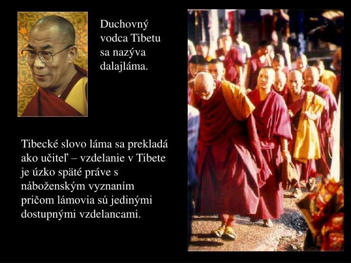 Duchovný vodca Tibetu sa nazýva dalajláma.