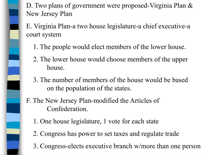 D. Two plans of government were proposed-Virginia Plan & New Jersey Plan
