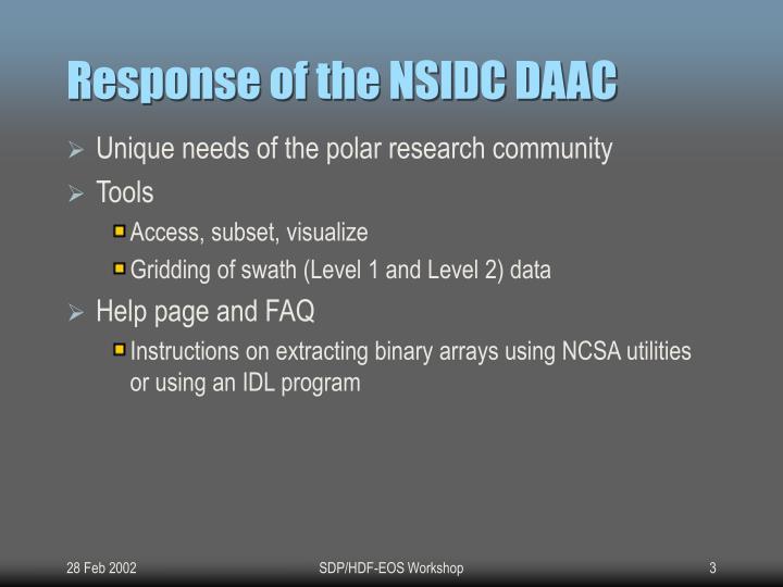 Response of the nsidc daac