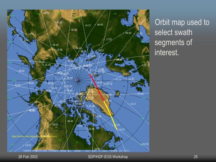 Orbit map used to select swath segments of interest.