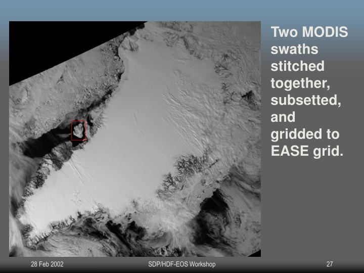 Two MODIS swaths stitched together, subsetted, and gridded to EASE grid.