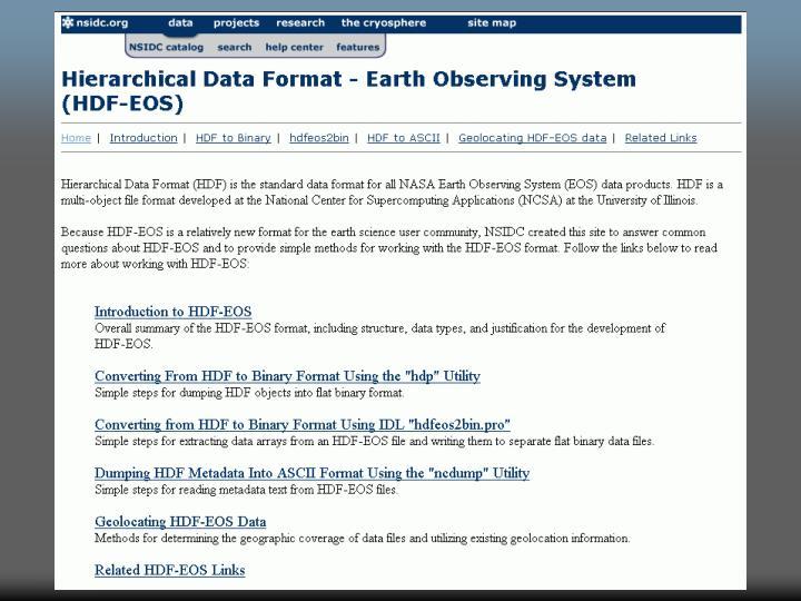 SDP/HDF-EOS Workshop