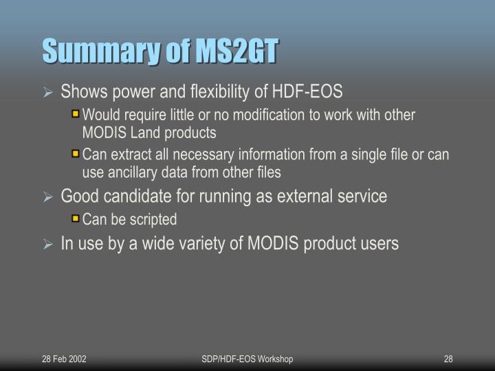 Summary of MS2GT