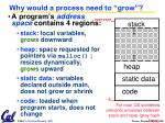 why would a process need to grow