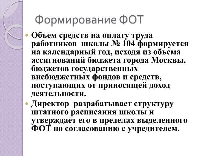 Формирование ФОТ