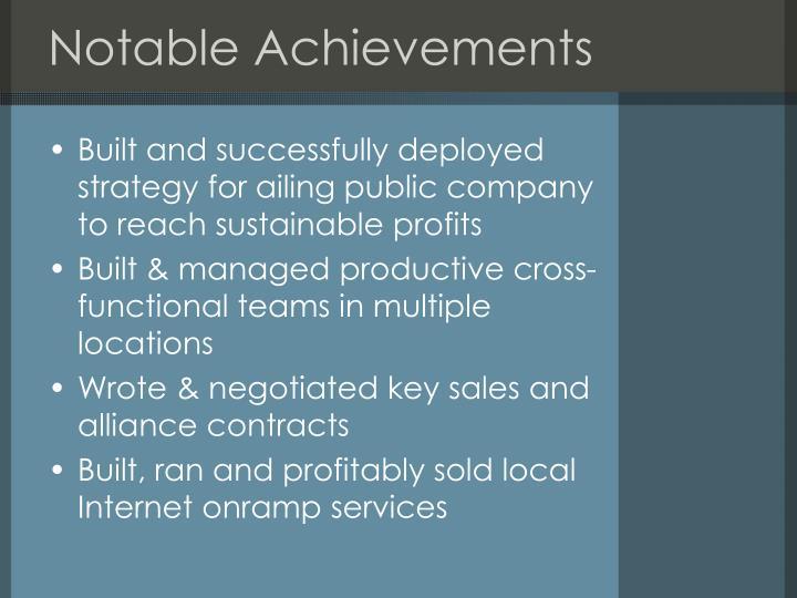 Notable Achievements
