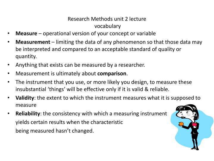 Research methods unit 2 lecture vocabulary
