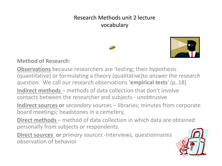 Research methods unit 2 lecture vocabulary1