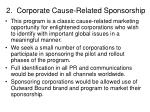 2 corporate cause related sponsorship