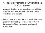 4 tailored programs for organizations or corporations