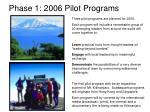 phase 1 2006 pilot programs