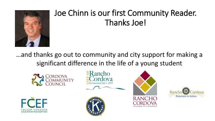 Joe Chinn is our first Community Reader.