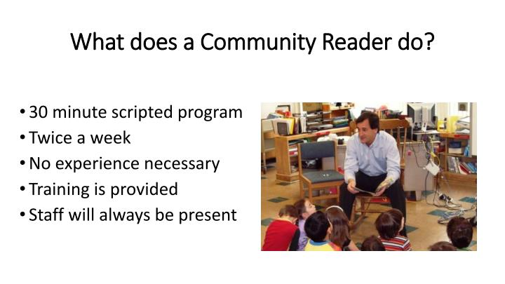 What does a Community Reader do?