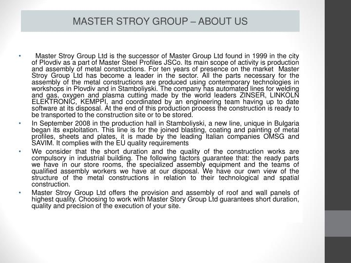 MASTER STROY GROUP – ABOUT US