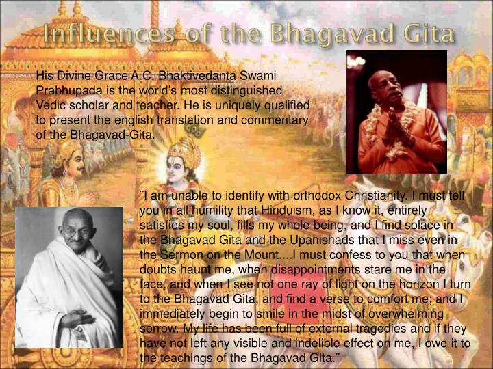 His Divine Grace A.C. Bhaktivedanta Swami Prabhupada is the world's most distinguished Vedic scholar and teacher. He is uniquely qualified to present the english translation and commentary of the Bhagavad-Gita.