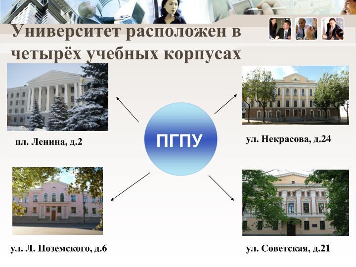 Университет расположен в четырёх учебных корпусах