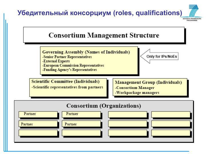 Убедительный консорциум (roles, qualifications)