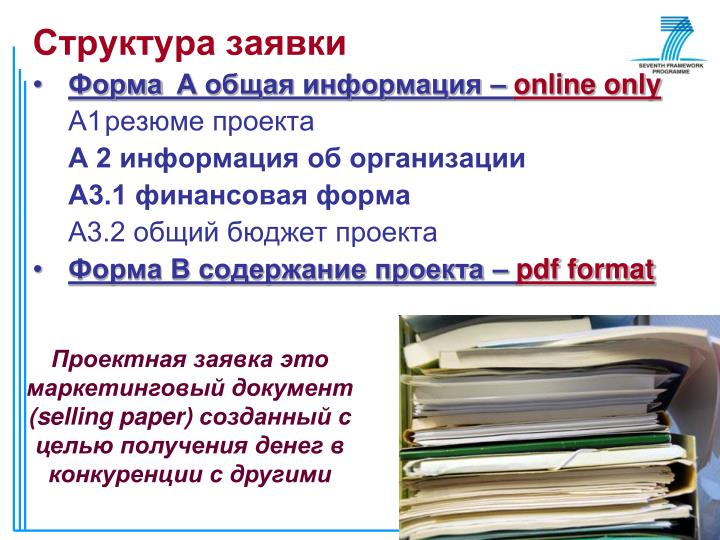 Структура заявки
