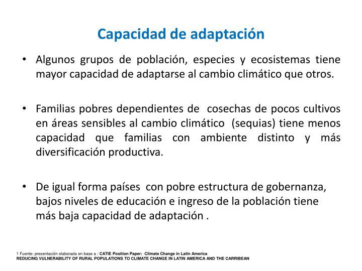 Capacidad de adaptación