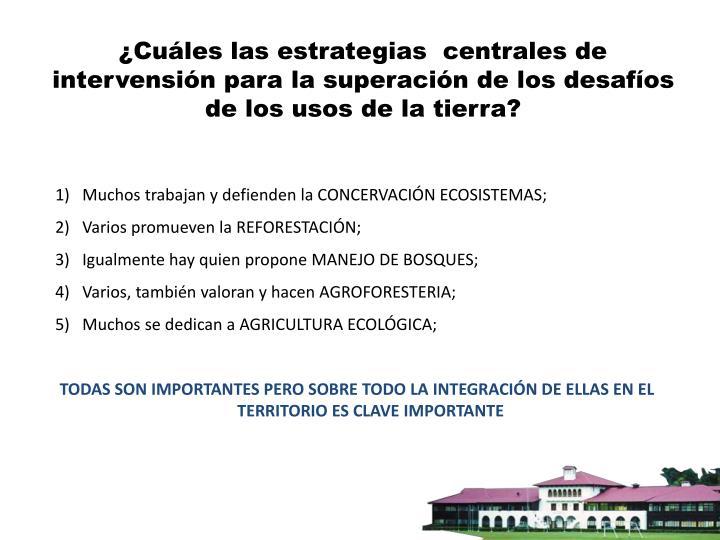¿Cuáles las estrategias  centrales de intervensión para la superación de los desafíos de los usos de la tierra?