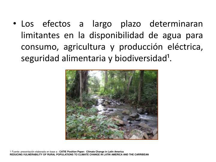 Los efectos a largo plazo determinaran limitantes en la disponibilidad de agua para consumo, agricul...