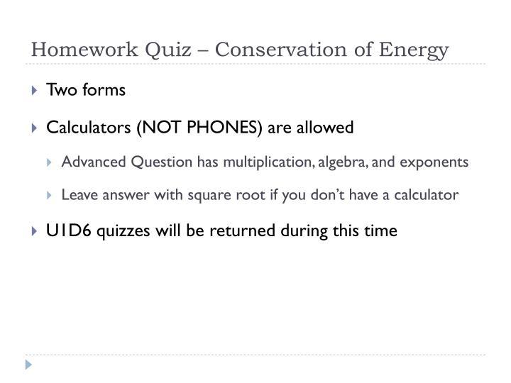 Homework Quiz – Conservation of Energy