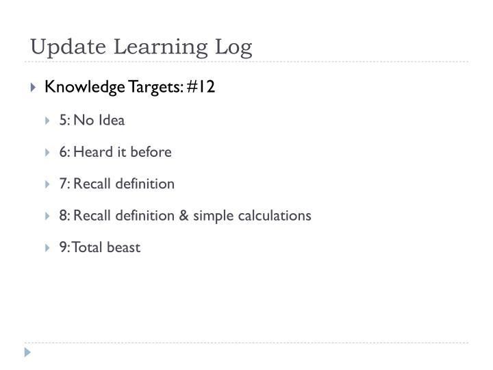 Update Learning Log