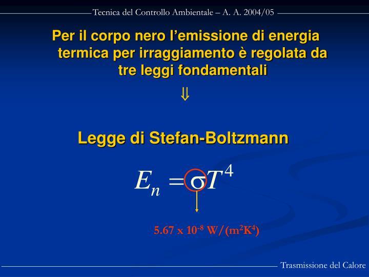 Per il corpo nero l'emissione di energia termica per irraggiamento è regolata da tre leggi fondamentali