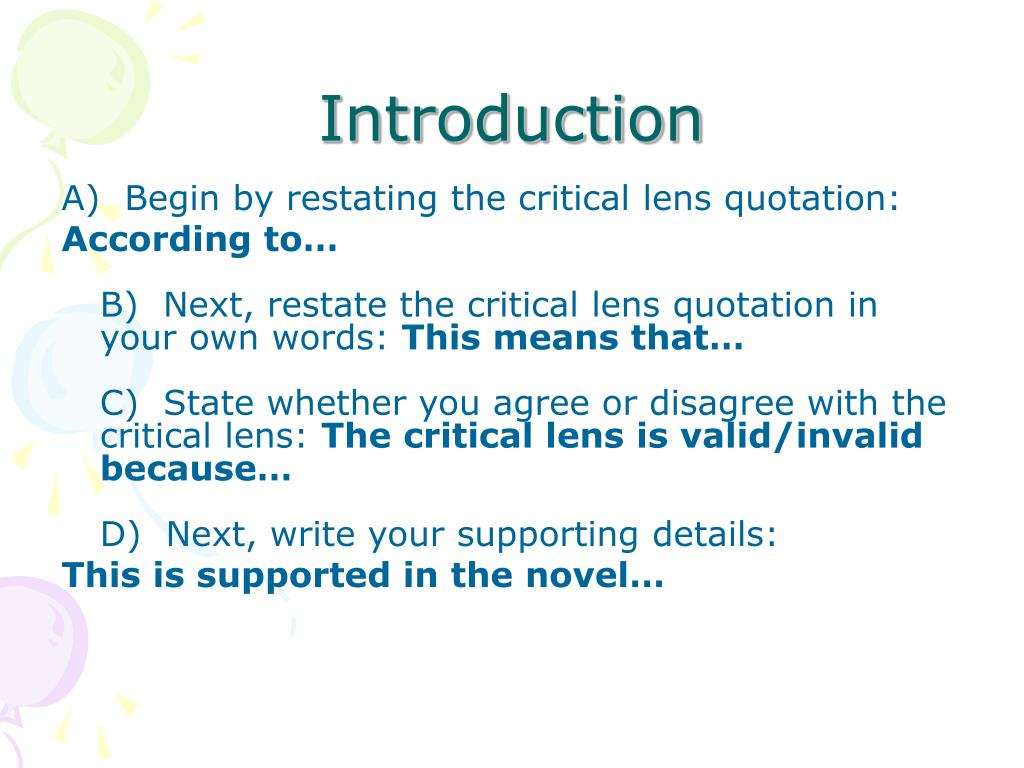 Critical lens example essay