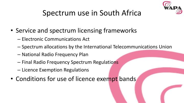Spectrum use in south africa