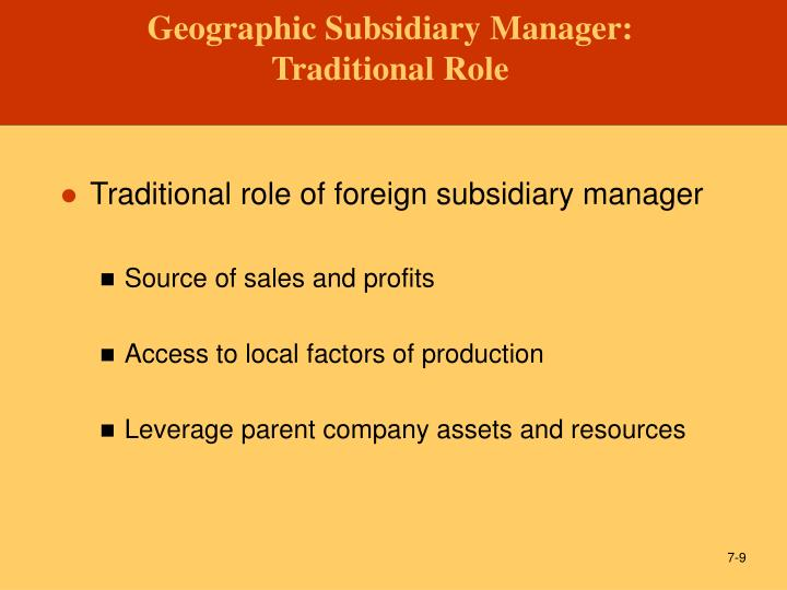 managing a foreign subsidiary Managing foreign subsidiaries: agents of headquarters is limited in its ability to explain fully the phenomenon of foreign subsidiary control.