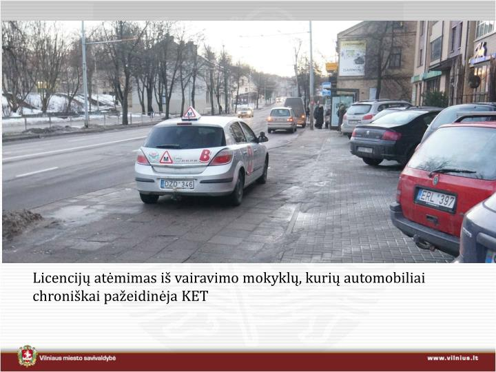 Licencijų atėmimas iš vairavimo mokyklų, kurių automobiliai chroniškai pažeidinėja KET