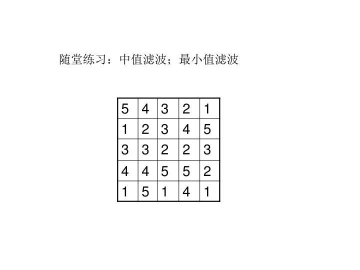 随堂练习:中值滤波;最小值滤波