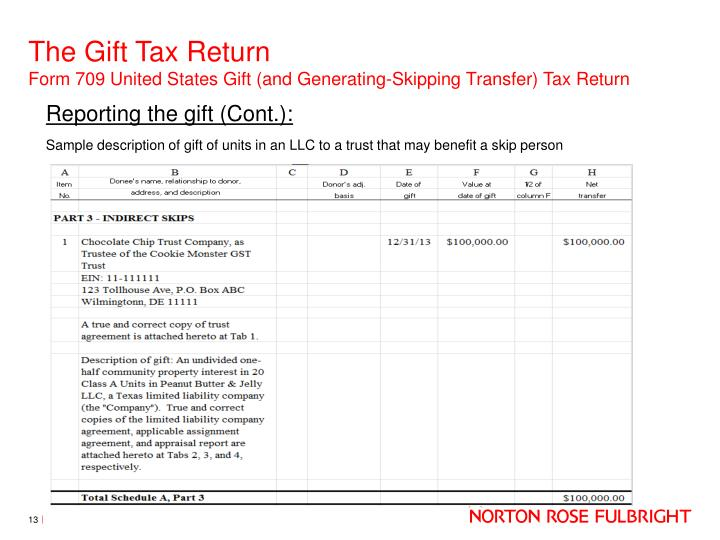 gift tax return The donor needs this information to determine whether the gift exceeds the annual exclusion amount and, if so, the amount to report on the gift tax return the recipient of the gift may also need this information to determine whether a deduction is available if the property is later sold at a loss.
