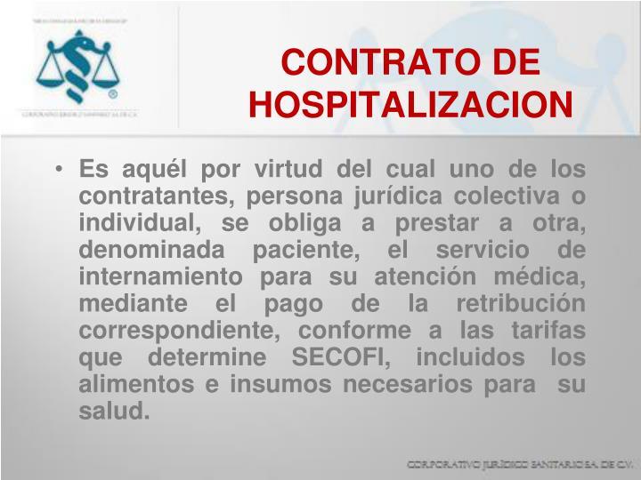 CONTRATO DE HOSPITALIZACION
