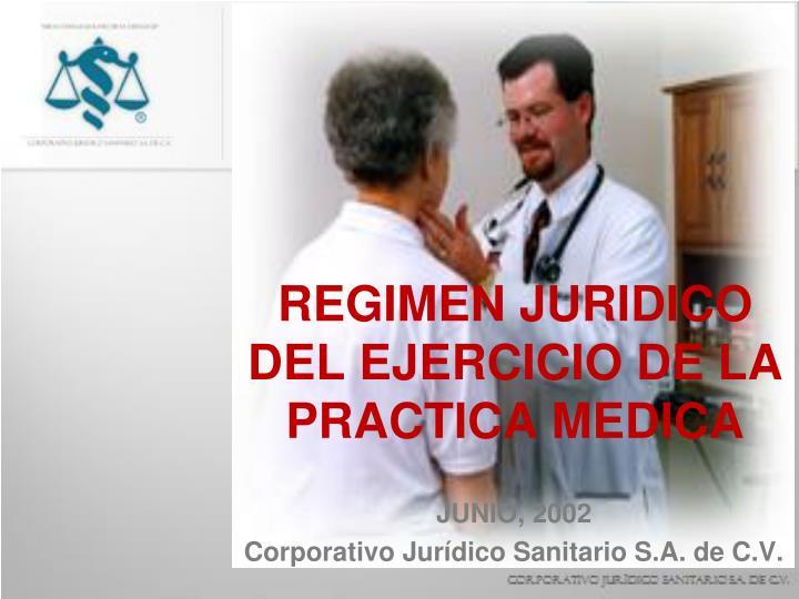 Regimen juridico del ejercicio de la practica medica