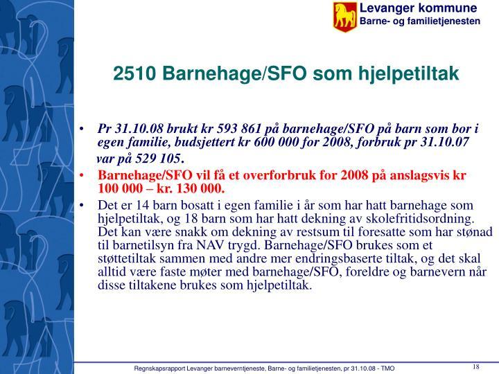2510 Barnehage/SFO som hjelpetiltak