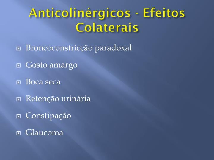Anticolinérgicos - Efeitos