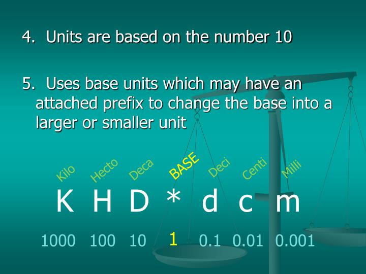 4.  Units are based on the number 10