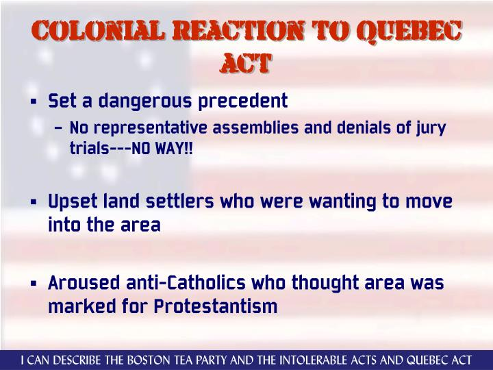 Colonial reaction to quebec act