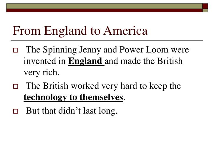 From England to America