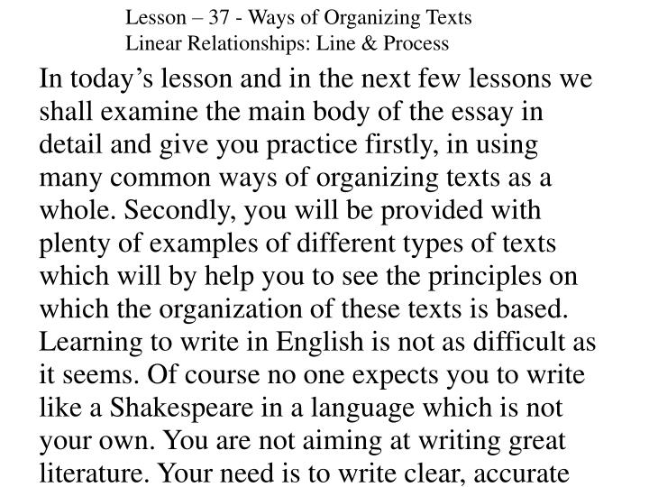 Lesson – 37 - Ways of Organizing Texts
