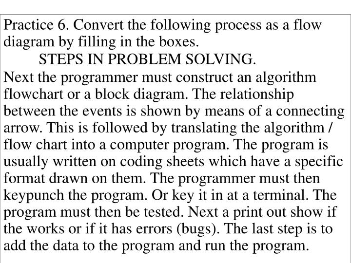 Practice 6. Convert the following process as a flow diagram by filling in the boxes.