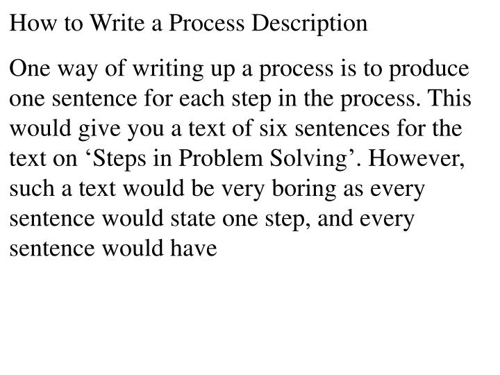 How to Write a Process Description