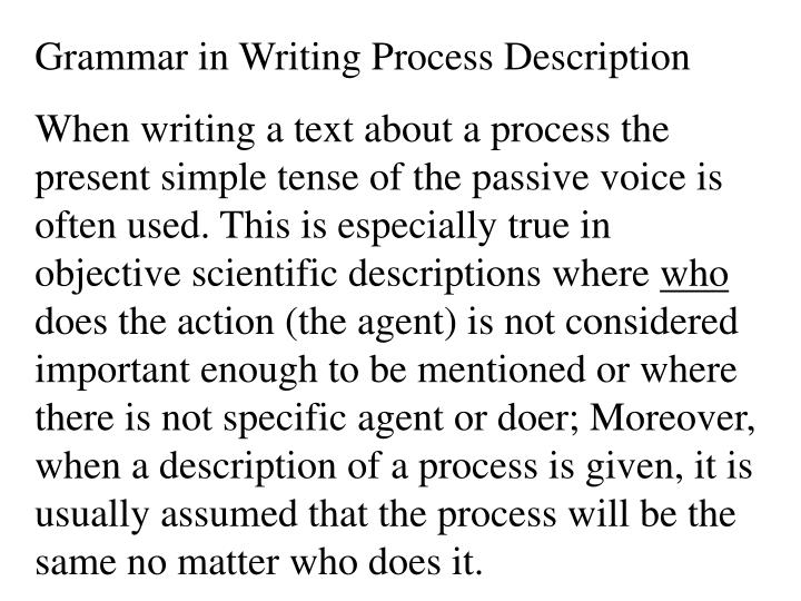 Grammar in Writing Process Description