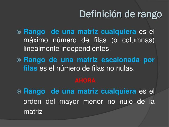 Definición de rango